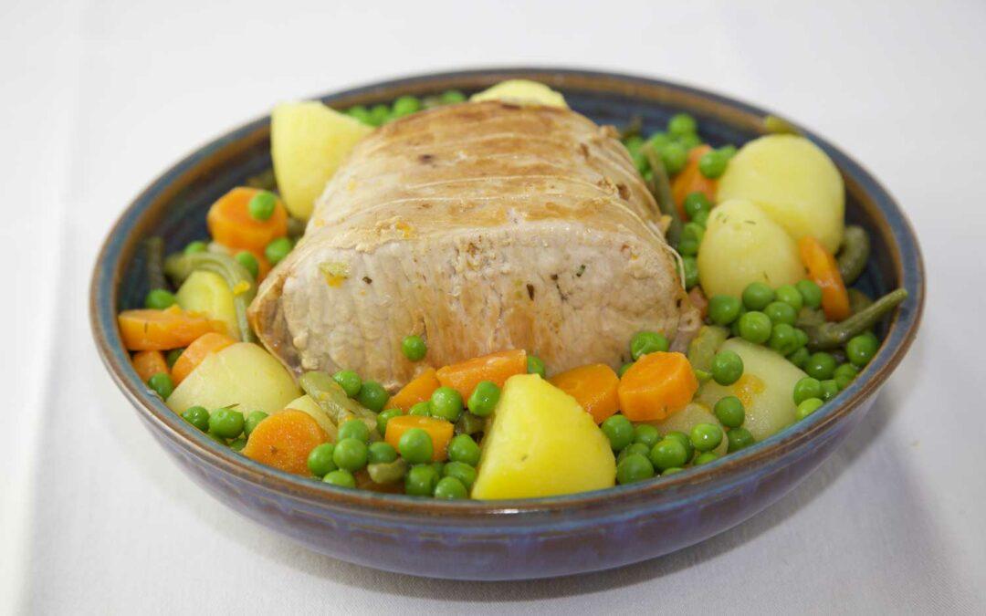Rôti de porc et ses petits légumes