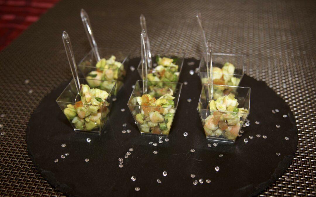 Verrines légumes et crevettes