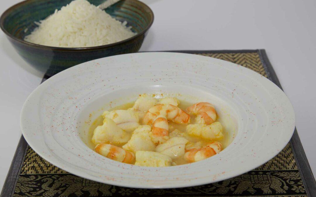 Crevettes et lotte au curry indien
